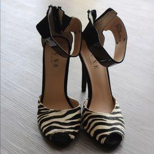 Zebra Suede Peep Toe Pumps. Just Fab Luxe